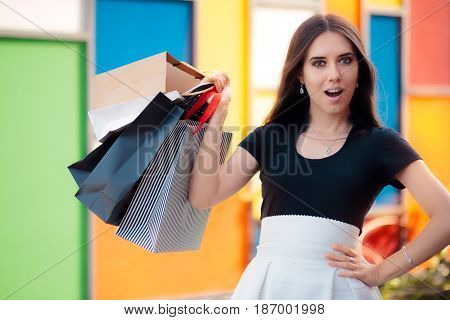Surprised Girl Shopping on Big Summer Sale