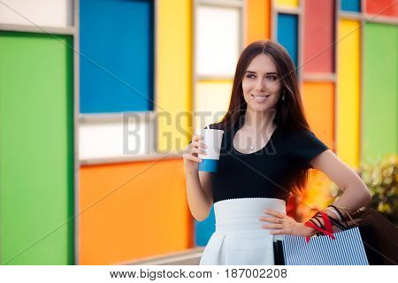 Summer Woman With Refreshing Drink and Shopping Bags