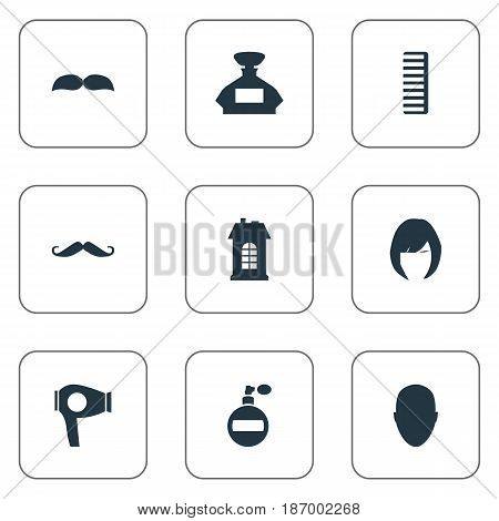 Vector Illustration Set Of Simple Beautician Icons. Elements Whiskers, Premises, Scent And Other Synonyms Odor, Comb And Whiskers.