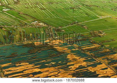 Aerial View of Amsterdam. Aerial View of Netherland. Aerial Sunset View.