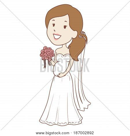 Vector Illustration of Pregnant Bride holding flower Bouquet