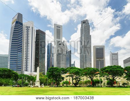 Scenic View Of Skyscrapers In Downtown Of Singapore