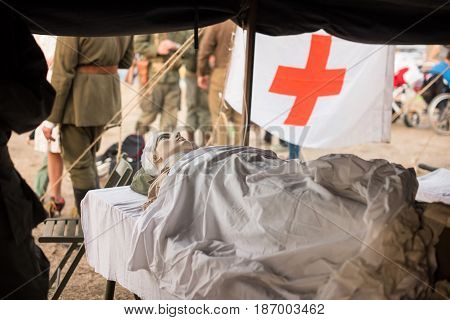 01 October 2016. A historical reenactment of the Wars History in Kiev, Ukraine. An installation of a field hospital.