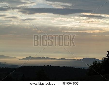Landscape in the early morning - view on mountains in early morning