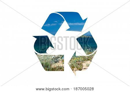 Recycle symbol , Earth water air , isolated on white background, clipping path included