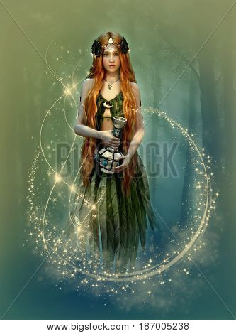 3D computer graphics of a forest fairy with a bottle in her hand