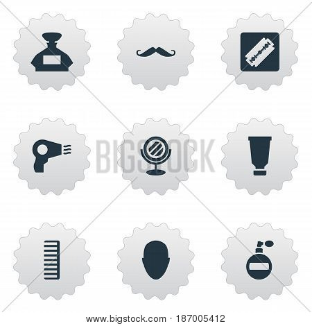 Vector Illustration Set Of Simple Beautician Icons. Elements Whiskers, Blow Dryer, Scent And Other Synonyms Hairdryer, Smell And Machine.