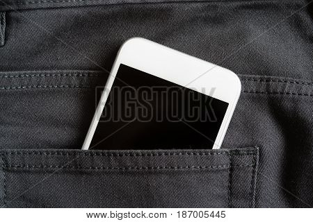 Close Up Of Smartphone In Back Pocket On Pants