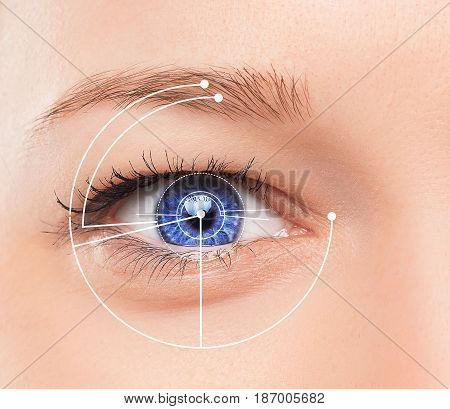 The conceptual image of digital eye or identification of a young woman