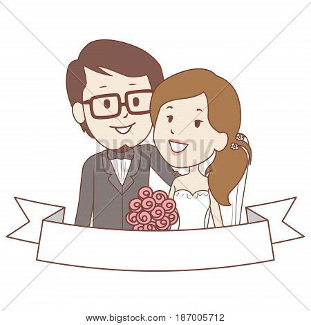 Vector Illustration of Bride and Groom Couple with Blank Ribbon Label Template