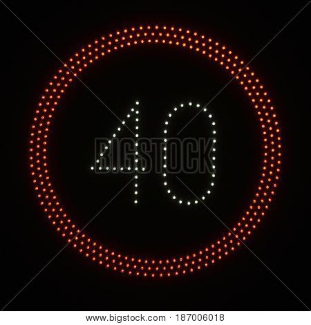 Led Light Speed Limit Sign: 40