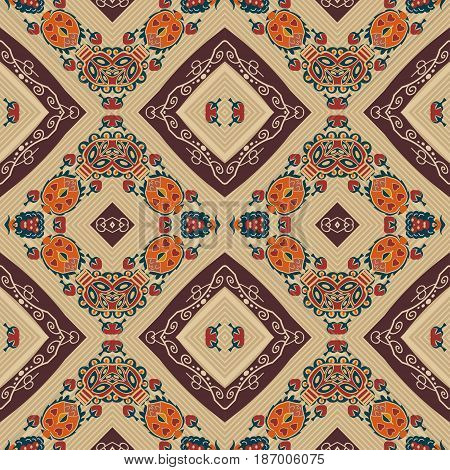 Floral seamless pattern in tribal style. Ethno. Vector illustration.