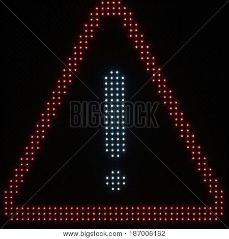Led light warning sign, color image, sqaure