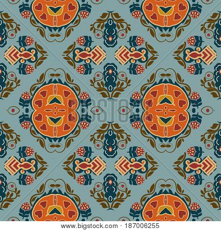 Seamless background from a floral ornament orange tribal style on a blue background. Ethno. Vector illustration.