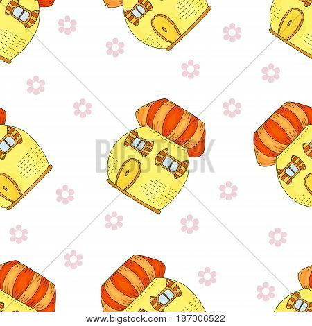 Sample comic pattern vector background. Fairytale colorful cute house in cartoon style