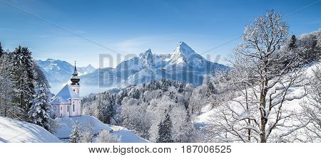 Church Of Maria Gern With Watzmann In Winter, Berchtesgadener Land, Bavaria, Germany