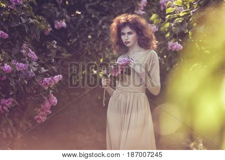 Woman in the sunshine walks through the park among the lilac bushes.