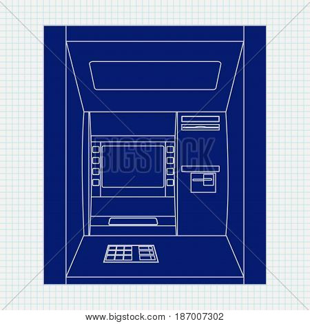 ATM. Bank machine. Automated Teller Machine. Vector illustration on Notebook sheet texture background