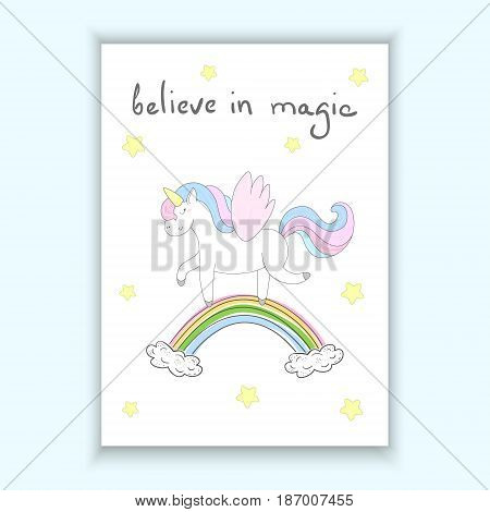 Cute unicorn print for kids. believe in magic card. vector card. Printable template.
