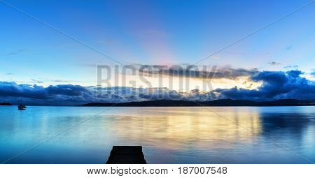 Panoramic of Lake Taupo in beautiful twilight in the evening North Island of New Zealand