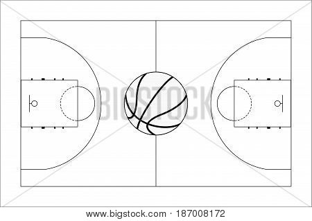 Basketball court. Basketball ball. Top View. Vector illustration isolated on white background.