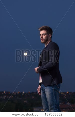 Portrait One Man, Smart Casual Clothes, Moon Sky Night