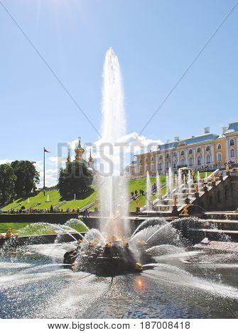 PETERHOF, RUSSIA - May 17, 2017. Grand cascade in Pertergof or Peterhof, known as Petrodvorets from 1944 to 1997. The Peterhof Palace included in the UNESCO's World Heritage List.