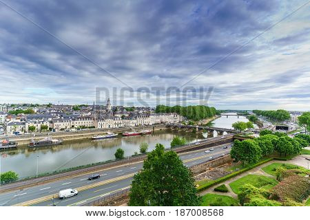 ANGERS FRANCE - MAY 122017 : Cityscape of Angers viewing Maine River Verdun Bridge and downtown area from Angers Castle