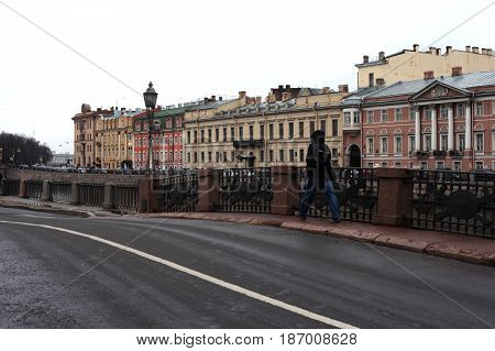 St. Petersburg, Russia - March 25, 2017:Engineer Bridge near Mikhailovsky Castle (Engineers' Castle) . Museum in historic centre. tourist sighting in March 25 in St. Petersburg, Russia