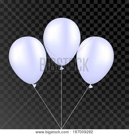 Vector white balloon on a transparent black background. 3d realistic happy holidays flying air helium balloon. Party decorations for birthday, wedding design.