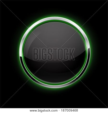 Black Button with chrome frame. Glass button with green glow. Vector illustration