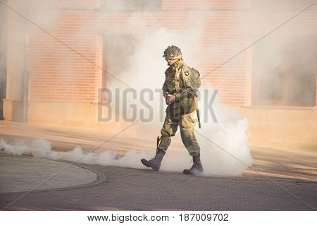 Belorado Spain - May 6 2017: American soldier during World war 2 reenactment Military historical reconstruction of the battle of Salerno 1943 on May 6 2017 during Expohistorica festival in Belorado Burgos Spain.