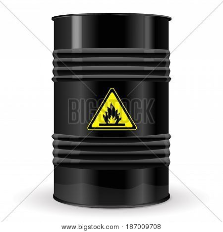 Metal barrel. Sign flammable. Vector isolated on white background. Illustration.