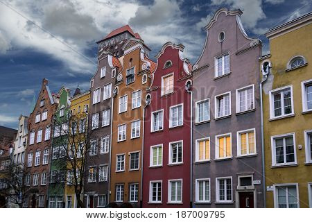 Colourful building frontages in Gdansk old town in Poland