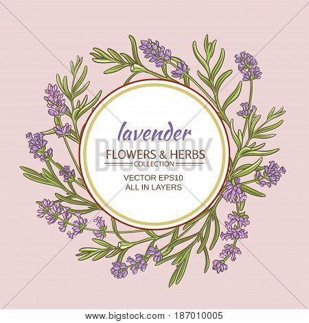 lavender flowers vector frame on color background