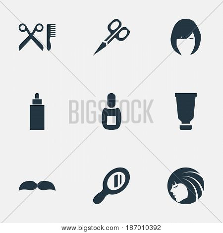 Vector Illustration Set Of Simple Barber Icons. Elements Flask, Glamour Lady, Reflector And Other Synonyms Clipper, Reflector And Whiskers.