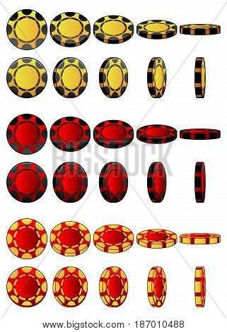 Cartoon collection of 3D colored casino chips, vector animation game rotation, set 3