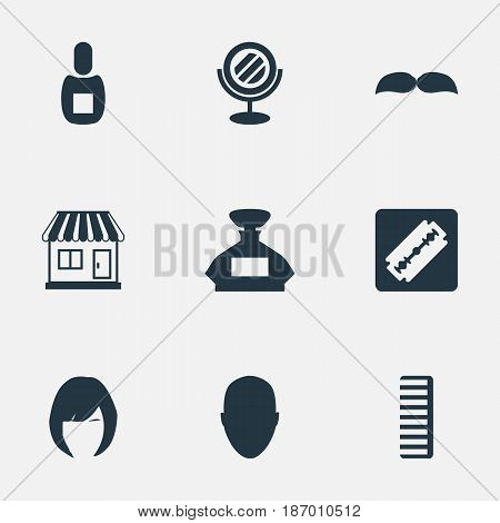 Vector Illustration Set Of Simple Beautician Icons. Elements Beard, Hackle, Scent And Other Synonyms Supermarket, Shop And Shaver.