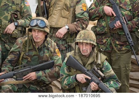 Belorado Spain - May 6 2017: Berlin wall reenactment Military historical reconstruction of Berlin wall conflict on May 6 2017 during Expohistorica festival in Belorado Burgos Spain.