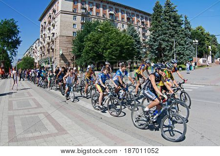 Volgograd Russia - June 26 2011: People take part in bike Parade in Day of Youth in Volgograd