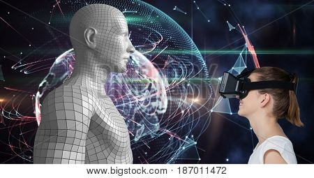 Digital composite of Woman looking at 3d human figure on VR glasses