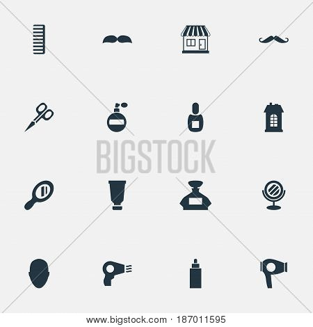 Vector Illustration Set Of Simple Beautician Icons. Elements Human, Beard, Premises And Other Synonyms Supermarket, Perfume And Hair.