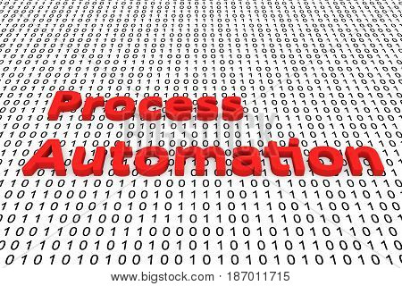 Process automation in the form of binary code, 3D illustration