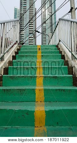 Overpass stairs green outdoor and background . .