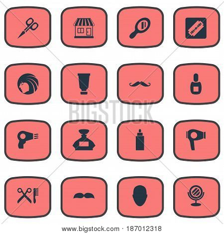 Vector Illustration Set Of Simple Beautician Icons. Elements Barber Tools, Container, Peeper And Other Synonyms Scissors, Mustache And Flask.