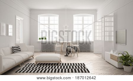 Bright minimalist living room with sofa and dining table scandinavian white interior design, 3d illustration
