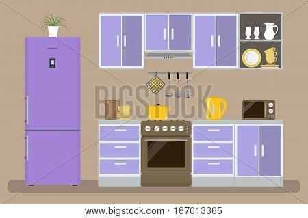 Modern kitchen in a purple color. There is a kitchen furniture, a stove, a refrigerator, a microwave, a kettle and other objects in the picture. Vector flat illustration.