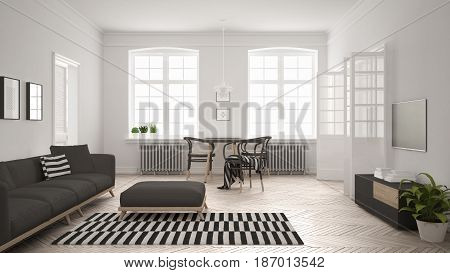Bright minimalist living room with sofa and dining table scandinavian white and gray interior design, 3d illustration