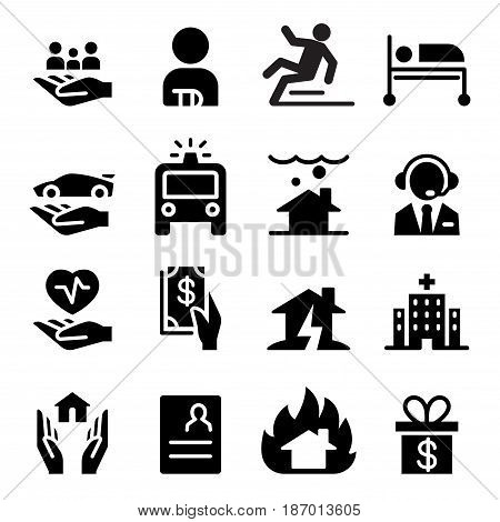 insurance business icons set  vector illustration graphic design
