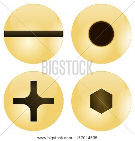 Screw heads. Vector illustration isolated on white background.